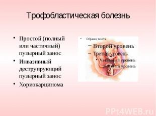Трофобластическая болезнь Простой (полный или частичный) пузырный занос Инвазивн