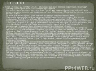 1-й этап (10 июля - 30 сентября 1941 г.) - оборона на дальних и ближних подступа