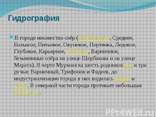 Гидрография В городе множество озёр (Семёновское, Среднее, Большое, Питьевое, Ок
