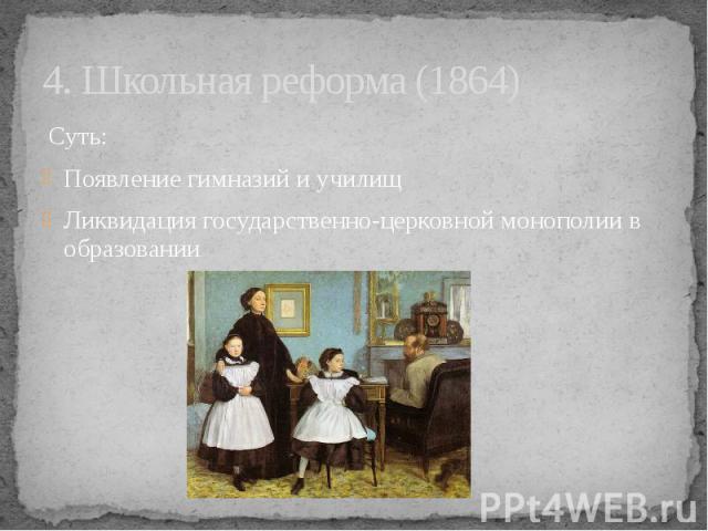 4. Школьная реформа (1864) Суть: Появление гимназий и училищ Ликвидация государственно-церковной монополии в образовании