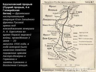 Брусиловский прорыв (Луцкий прорыв, 4-я Галицийская битва)—фронтовая