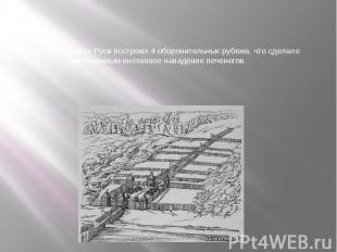 На южных границах Руси построил 4 оборонительных рубежа, что сделало невозможным