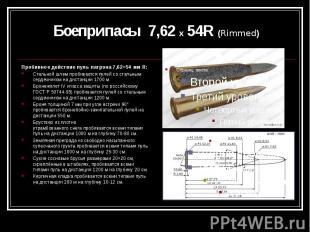 Боеприпасы 7,62 х 54R (Rimmed) Пробивное действие пуль патрона 7,62×54 мм R: Ста