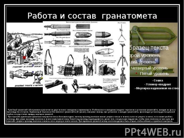 Работа и состав гранатомета - Сошка - Угломер-квадрант - Мортирка надеваемая на ствол
