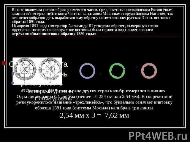 В изготовляемом новом образце имеются части, предложенные полковником Роговцевым, комиссией генерал-лейтенанта Чагина, капитаном Мосиным и оружейником Наганом, так что целесообразно дать выработанному образцу наименование: русская 3-лин. винтовка об…