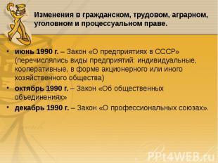 июнь 1990 г. – Закон «О предприятиях в СССР» (перечислялись виды предприятий: ин