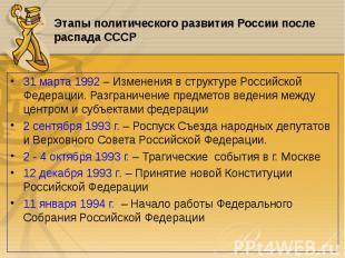 31 марта 1992 – Изменения в структуре Российской Федерации. Разграничение предме
