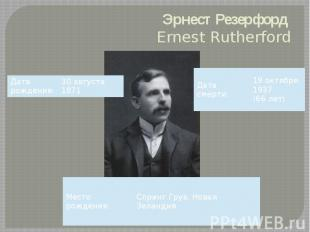 Эрнест Резерфорд Ernest Rutherford