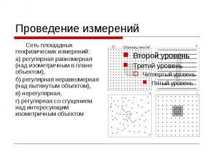 Проведение измерений Сеть площадных геофизических измерений: а) регулярная равно