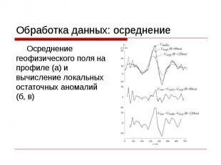 Обработка данных: осреднение Осреднение геофизического поля на профиле (а) и выч