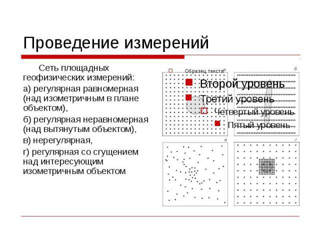 Проведение измерений Сеть площадных геофизических измерений: а) регулярная равномерная (над изометричным в плане объектом), б) регулярная неравномерная (над вытянутым объектом), в) нерегулярная, г) регулярная со сгущением над интересующим изометричн…