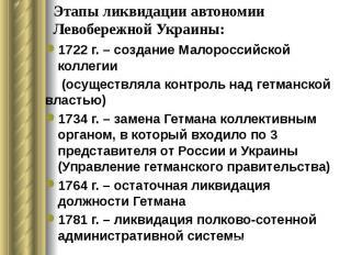 Этапы ликвидации автономии Левобережной Украины: 1722 г. – создание Малороссийск