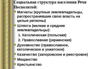 Социальная структура населения Речи Посполитой: Магнаты (крупные землевладельцы,