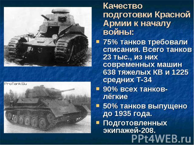 Качество подготовки Красной Армии к началу войны: Качество подготовки Красной Армии к началу войны: 75% танков требовали списания. Всего танков 23 тыс., из них современных машин 638 тяжелых КВ и 1225 средних Т-34 90% всех танков- лёгкие 50% танков в…
