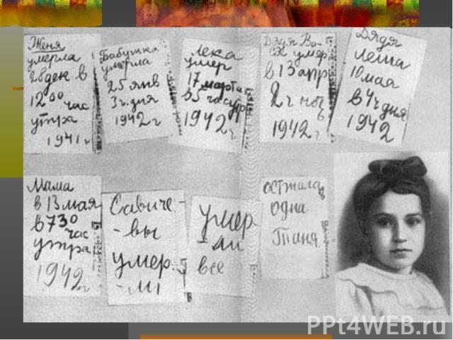 Блокада Ленинграда 8 сентября 1941 – 27 января 1944 872 дня Военные потери: 332 059 убитых 24 324 небоевых потерь 111 142 пропавших без вести Гражданские потери: 16 747 убито при артобстрелах и бомбардировках 632 253 погибли от голода