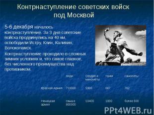 Контрнаступление советских войск под Москвой 5-6 декабря началось контрнаступлен