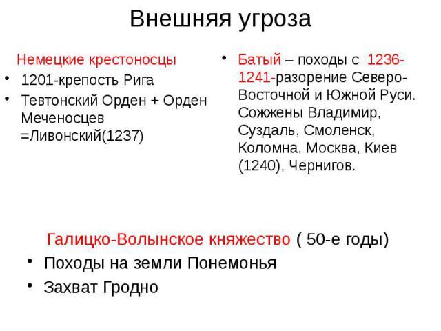 Внешняя угроза Немецкие крестоносцы 1201-крепость Рига Тевтонский Орден + Орден Меченосцев =Ливонский(1237)