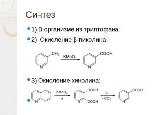 Синтез 1) В организме из триптофана. 2) Окисление β-пиколина: 3) Окисление