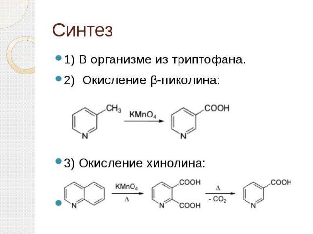 Синтез 1) В организме из триптофана. 2) Окисление β-пиколина: 3) Окисление хинолина: