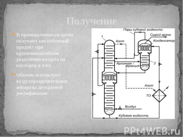 Получение В промышленности аргон получают как побочный продукт при крупномасштабном разделении воздуха на кислород и азот. Обычно используют воздухоразделительные аппараты двукратной ректификации.