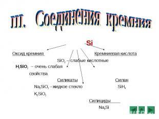 Si Оксид кремния Кремниевая кислота SiO2 – слабые кислотные H2SiO3 – очень слаба