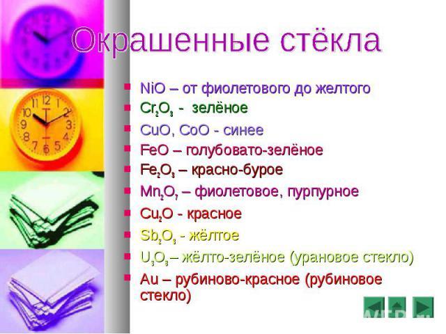 NiO – от фиолетового до желтого NiO – от фиолетового до желтого Cr2O3 - зелёное CuO, CoO - синее FeO – голубовато-зелёное Fe2O3 – красно-бурое Mn2O7 – фиолетовое, пурпурное Cu2O - красное Sb2O3 - жёлтое U3O8 – жёлто-зелёное (урановое стекло) Au – ру…