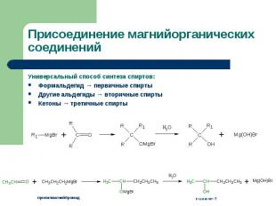 Универсальный способ синтеза спиртов: Универсальный способ синтеза спиртов: Форм