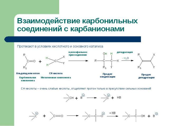 Протекают в условиях кислотного и основного катализа Протекают в условиях кислотного и основного катализа