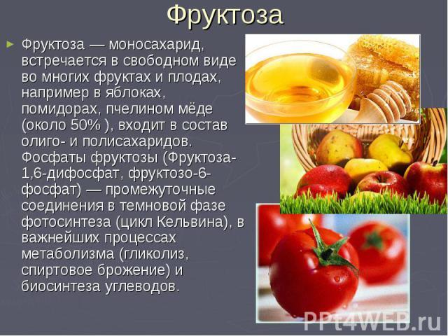 Фруктоза — моносахарид, встречается в свободном виде во многих фруктах и плодах, например в яблоках, помидорах, пчелином мёде (около 50% ), входит в состав олиго- и полисахаридов. Фосфаты фруктозы (Фруктоза-1,6-дифосфат, фруктозо-6-фосфат) — промежу…