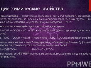Общие химические свойства Все аминокислоты — амфотерные соединения, они могут пр