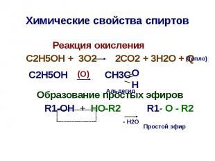Химические свойства спиртов Реакция окисления С2Н5ОН + 3О2 2СО2 + 3Н2О + Q С2Н5О