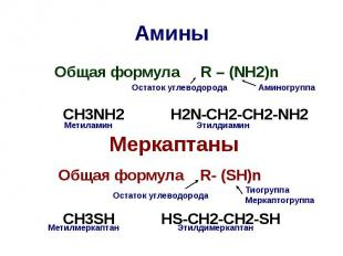 Амины Общая формула R – (NH2)n CH3NH2 H2N-CH2-CH2-NH2 Меркаптаны Общая формула R