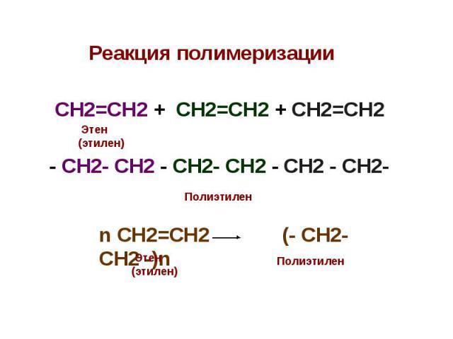 Реакция полимеризации Реакция полимеризации СН2=СН2 + СН2=СН2 + СН2=СН2 - СН2- СН2 - СН2- СН2 - СН2 - СН2-
