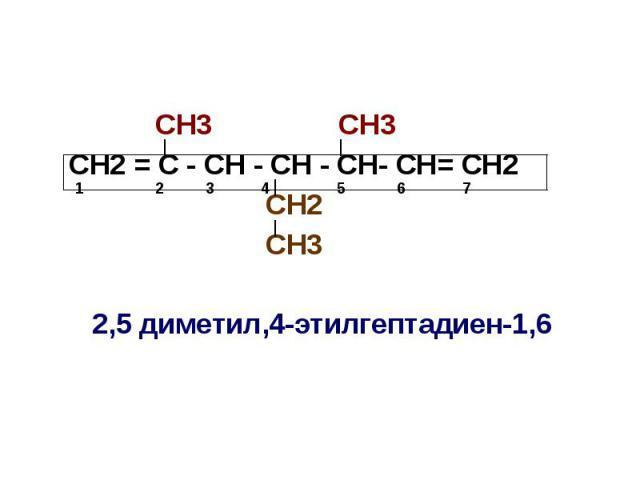 СН3 СН3 СН2 = С - СН - СН - СН- СН= СН2 СН2 СН3 2,5 диметил,4-этилгептадиен-1,6