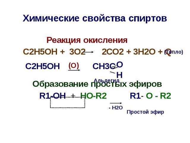 Химические свойства спиртов Реакция окисления С2Н5ОН + 3О2 2СО2 + 3Н2О + Q С2Н5ОН CH3C Образование простых эфиров R1-OH + HO-R2 R1- O - R2