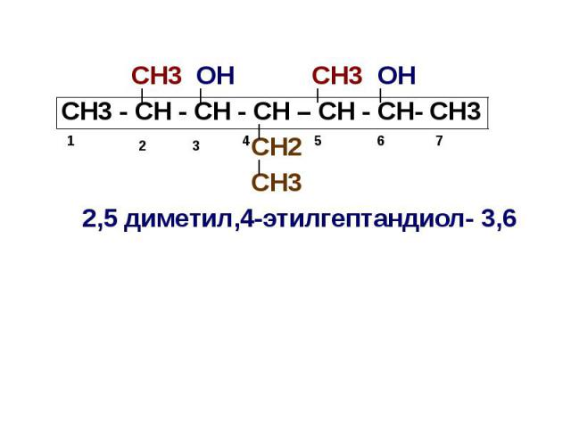 СН3 ОН СН3 ОН СН3 - СН - СН - СН – СН - СН- СН3 СН2 СН3 2,5 диметил,4-этилгептандиол- 3,6