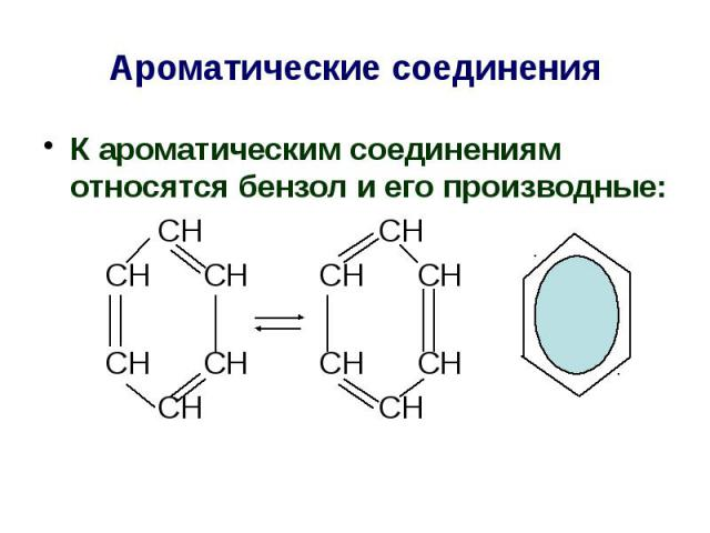 Ароматические соединения К ароматическим соединениям относятся бензол и его производные: СН СН СН СН СН СН СН СН СН СН СН СН