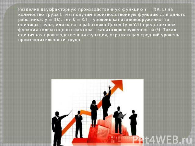 Разделив двухфакторную производственную функцию Y = f(К, L) на количество труда L, мы получим производственную функцию для одного работника: у = f(k), где k = K/L – уровень капиталовооруженности единицы труда, или одного работника Доход (y = Y/L) пр…