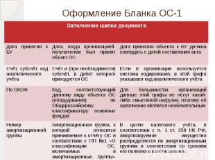 Оформление Бланка ОС-1