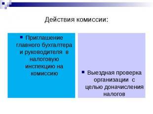 Действия комиссии: Приглашение главного бухгалтера и руководителя в налоговую ин
