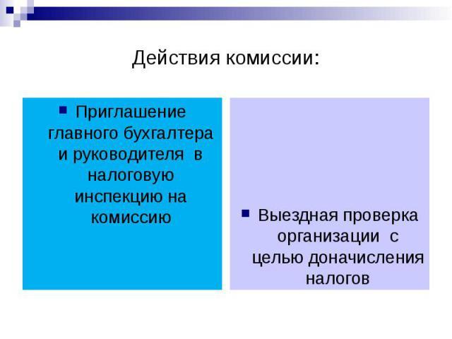 Действия комиссии: Приглашение главного бухгалтера и руководителя в налоговую инспекцию на комиссию