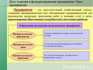 Цель создания и функционирования предприятия. Типы предприятий. Предприятие – эт