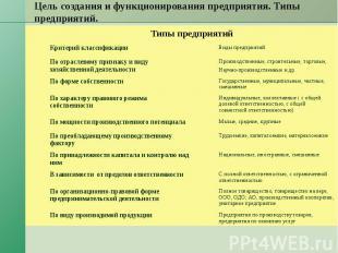 Цель создания и функционирования предприятия. Типы предприятий. Типы предприятий