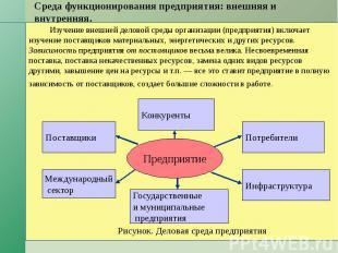 Среда функционирования предприятия: внешняя и внутренняя. Изучение внешней делов