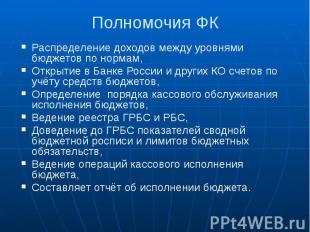 Полномочия ФК Распределение доходов между уровнями бюджетов по нормам, Открытие