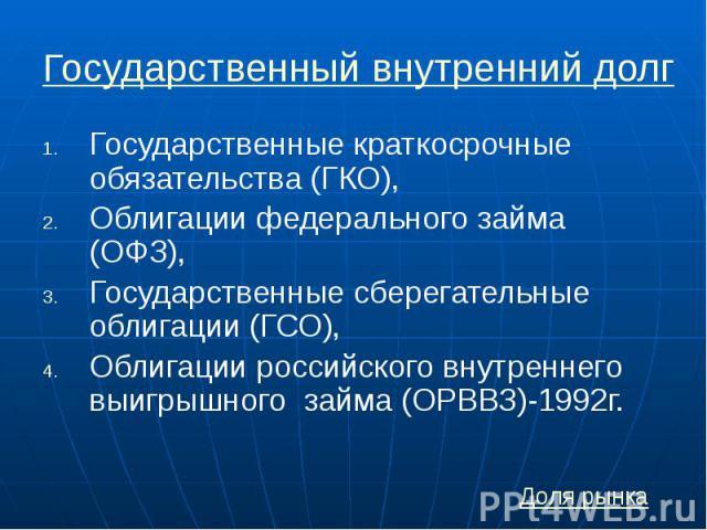 Государственный внутренний долг Государственные краткосрочные обязательства (ГКО), Облигации федерального займа (ОФЗ), Государственные сберегательные облигации (ГСО), Облигации российского внутреннего выигрышного займа (ОРВВЗ)-1992г.