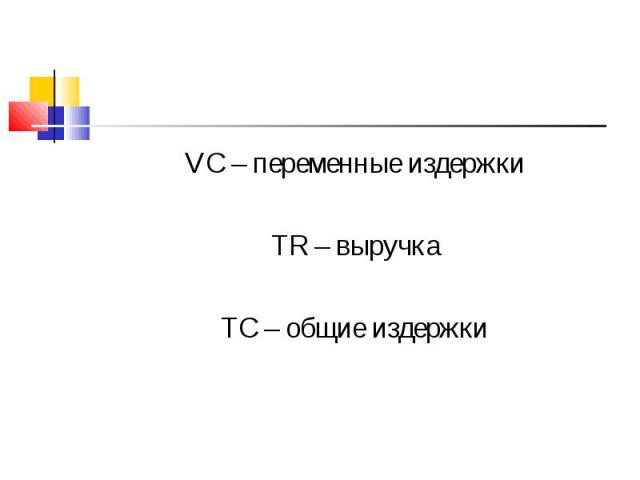 VC – переменные издержки VC – переменные издержки TR – выручка TC – общие издержки