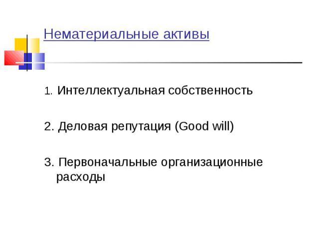 1. Интеллектуальная собственность 1. Интеллектуальная собственность 2. Деловая репутация (Good will) 3. Первоначальные организационные расходы