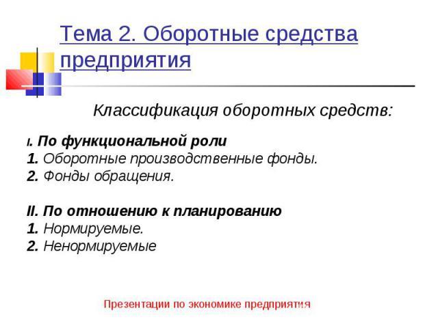 Классификация оборотных средств: Классификация оборотных средств: