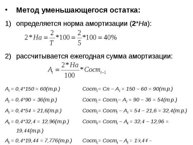 Метод уменьшающегося остатка: Метод уменьшающегося остатка: определяется норма амортизации (2*На): рассчитывается ежегодная сумма амортизации: А1 = 0,4*150 = 60(т.р.) Сост1 = Сп – А1 = 150 – 60 = 90(т.р.) А2 = 0,4*90 = 36(т.р.) Сост2 = Сост1 – А2 = …